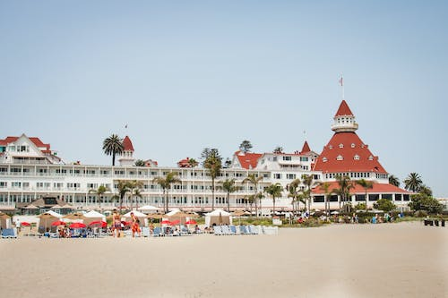 Free stock photo of beach, hotel, palm tree