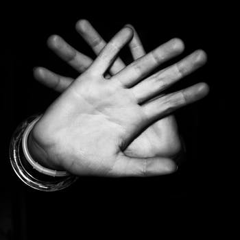 Free stock photo of black-and-white, hands, dark, palm