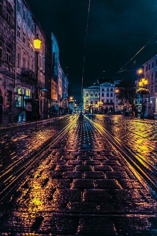 Grey Concrete Road at Night