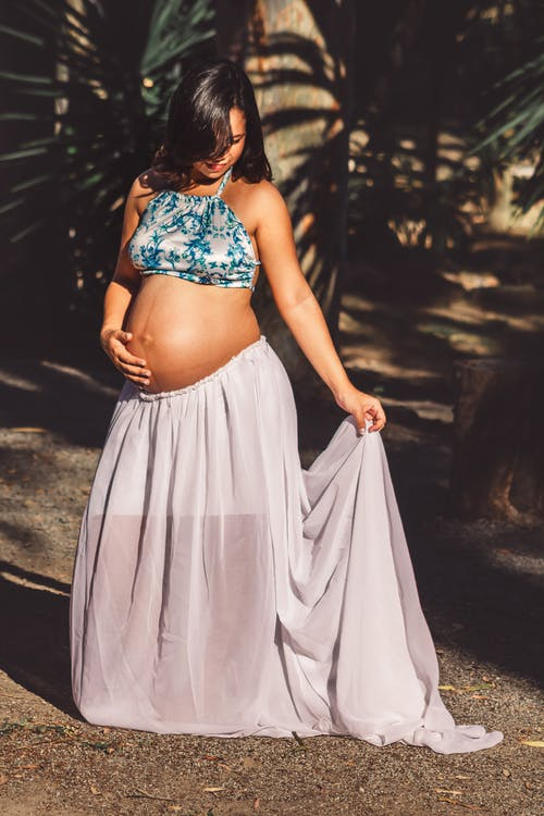 Pregnant Woman Wearing Blue and Gray Sheer Dress
