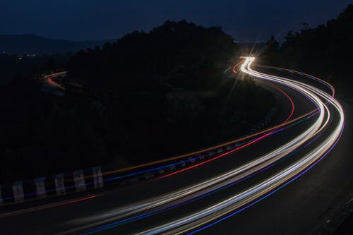 Free stock photo of car lights, light trails, long exposure