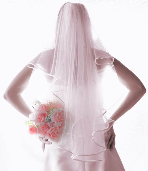 Woman in White Veil Holding Pink Rose Bouquet Flower
