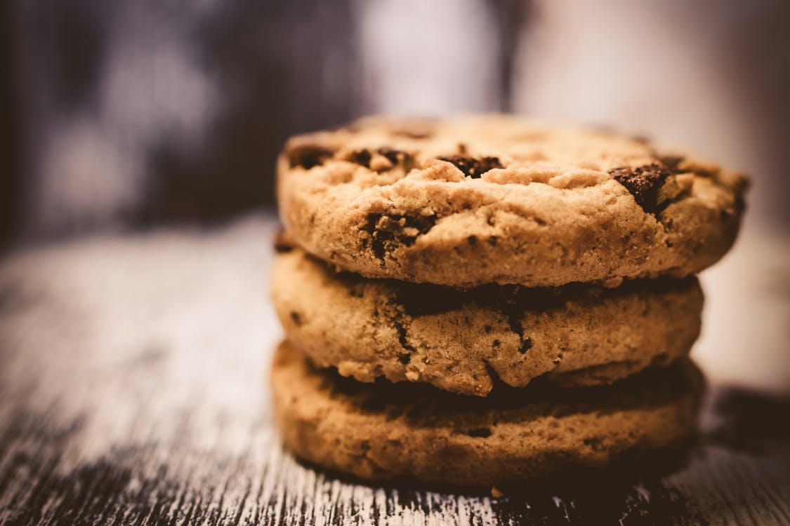 Macro Photography of Pile of 3 Cookie