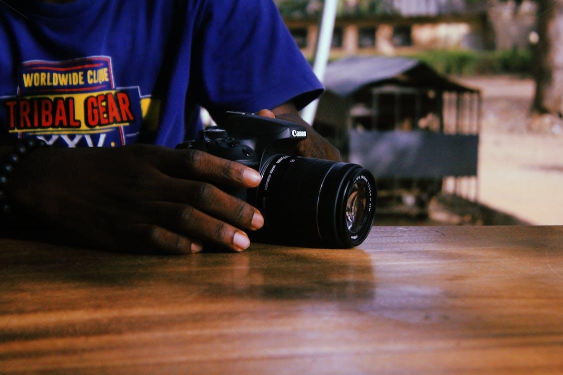 afro-americano, câmera, cânone