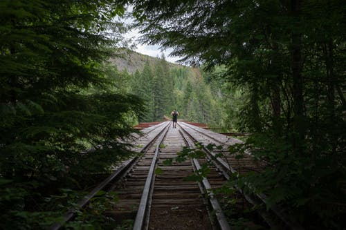 Gratis arkivbilde med dagslys, fjell, gå, jernbane