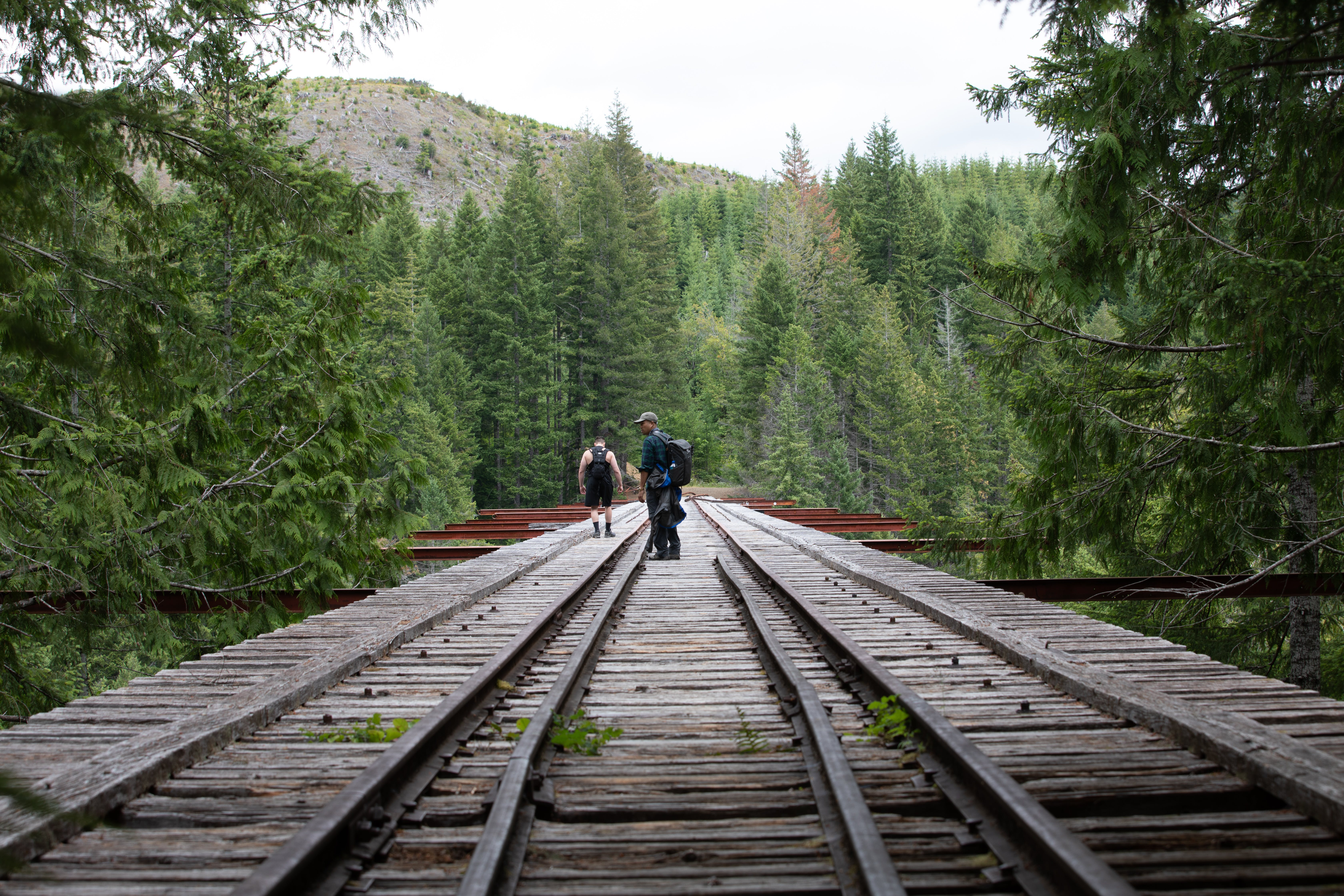 Two Hikers at the Railroad