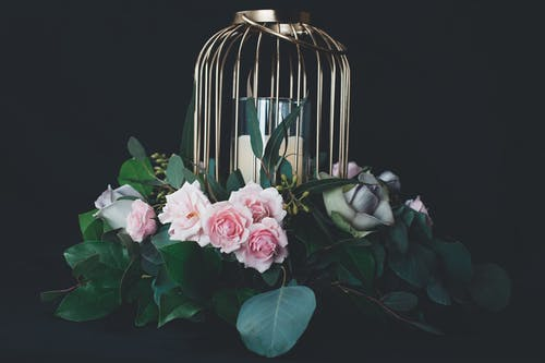 Silver Bird Cage Designed Tealight Holder With Pink Roses