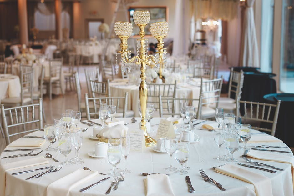 Brass candelabra on tabletop