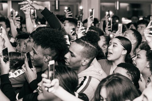 Grayscale Photography of Crowd