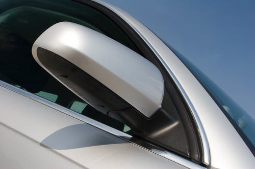White Car Side View Mirror
