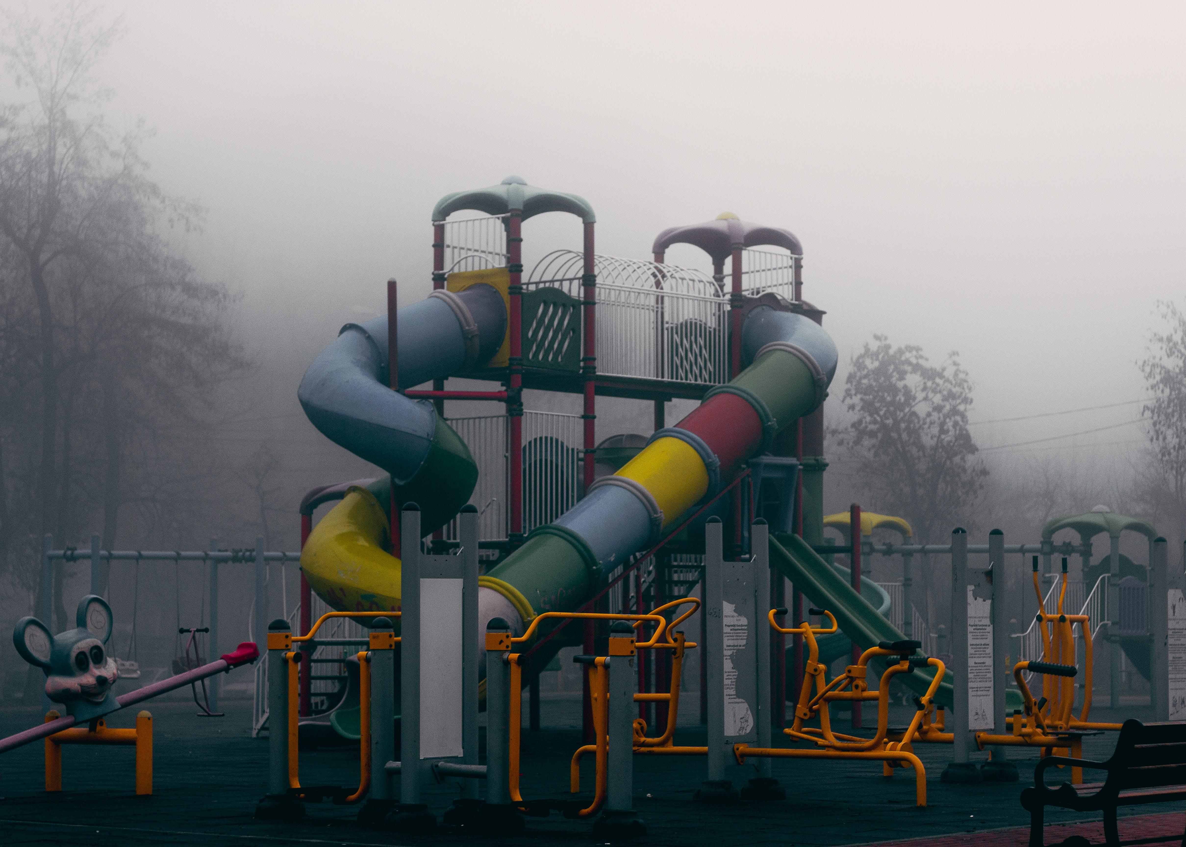 amusement park, fog, foggy