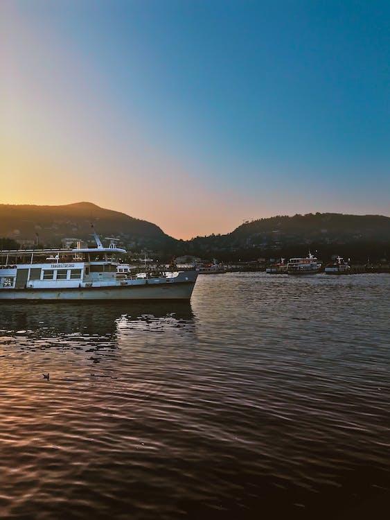 båt, daggry, fartøy