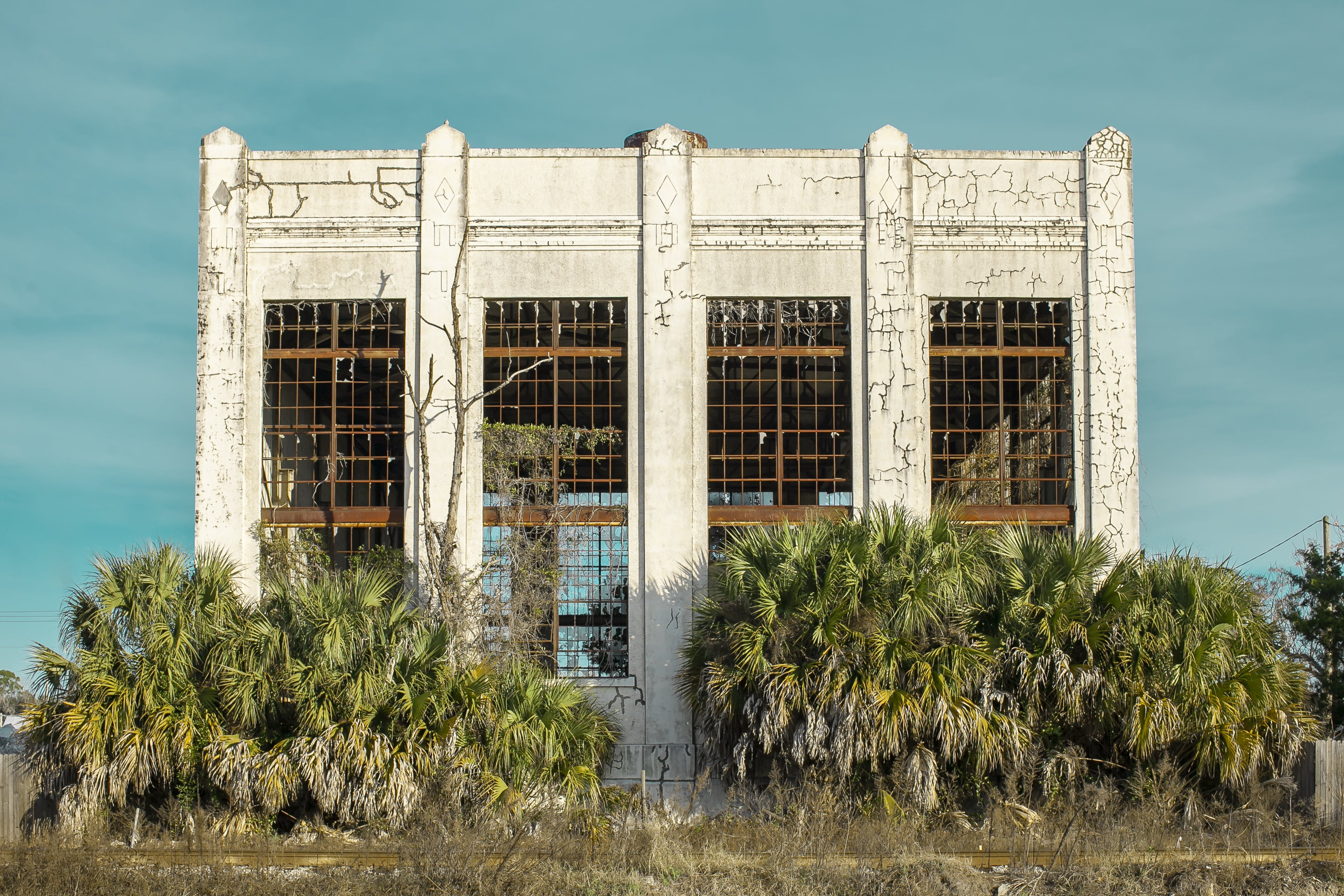 Landscape Photography of Concrete Building Surrounded by Palm Trees