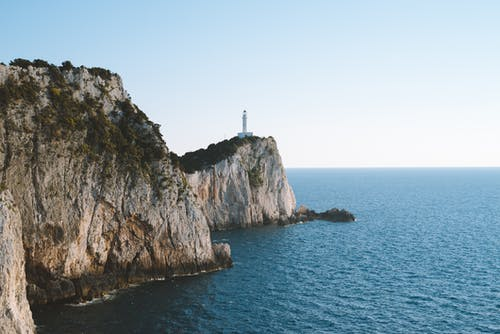 White Lighthouse on Top of Cliff in Beach
