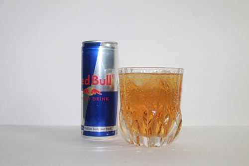 Free stock photo of red bull glass cann