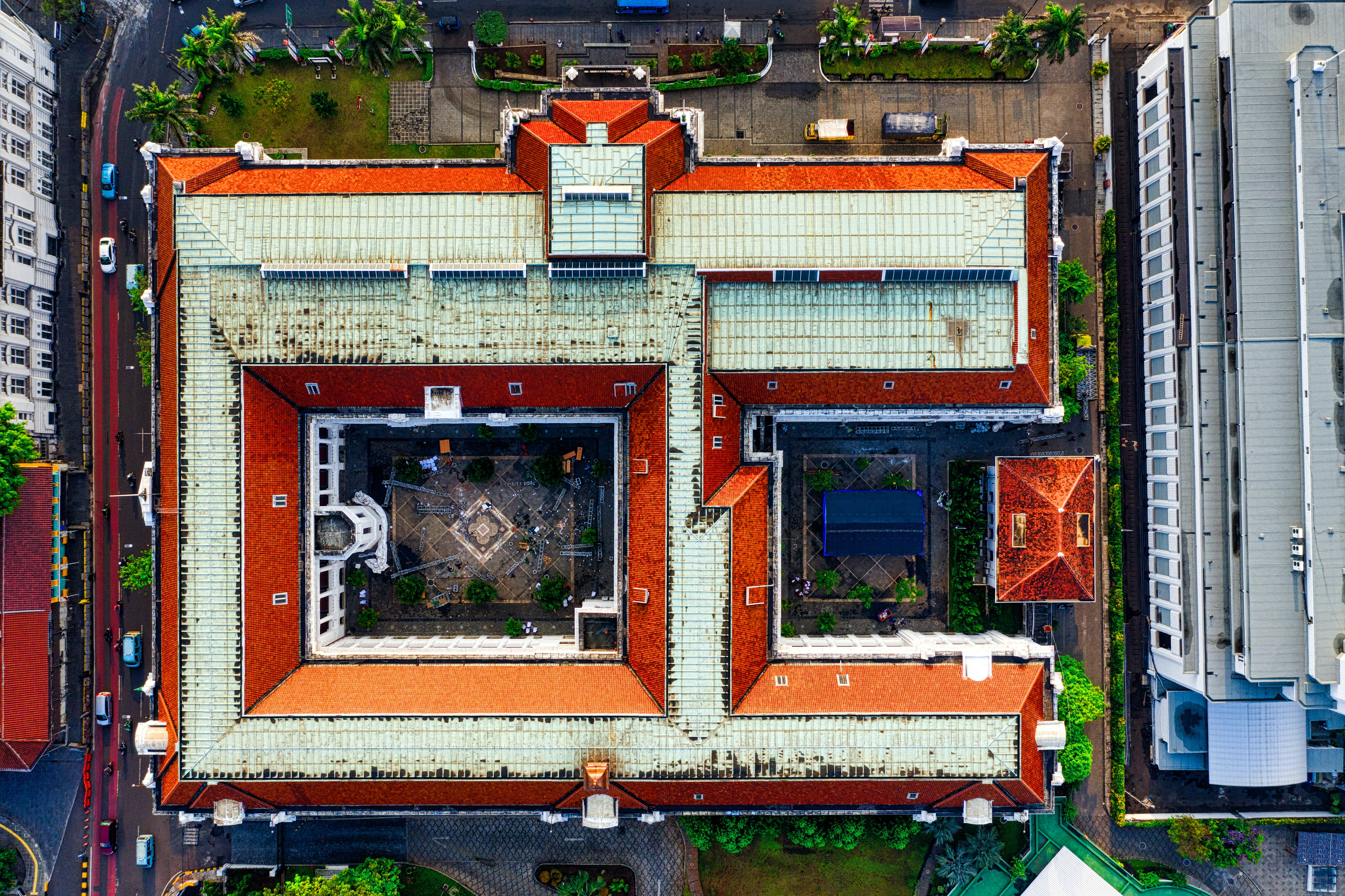 Top View of Red and White Building