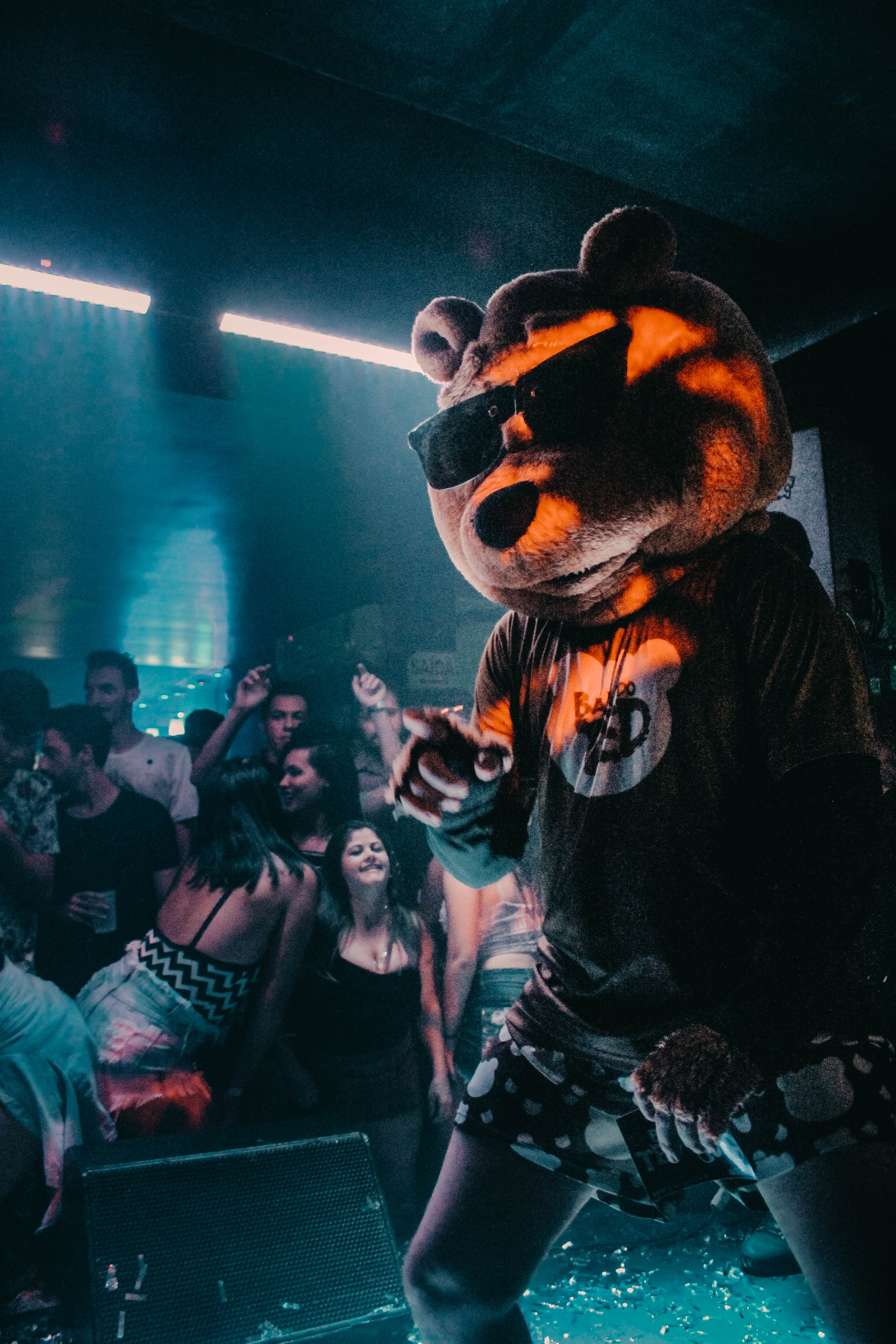 Person Wearing Bear Mask Dancing on Stage