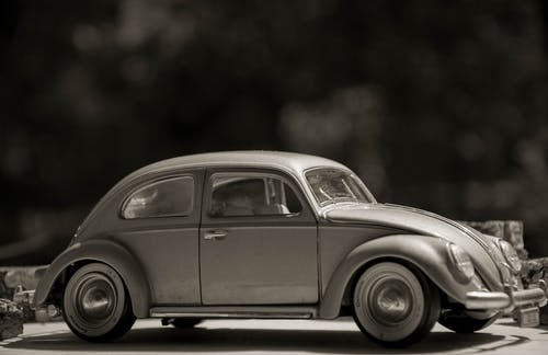 Free stock photo of 1950s, automobile, beetle, black-and-white