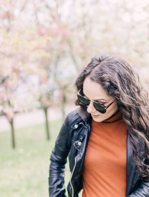 Free stock photo of 20-25 years old woman, beautiful girl, black leather jacket, color