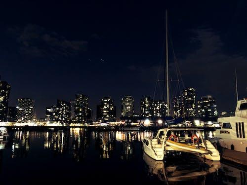 Free stock photo of boat, city, night city
