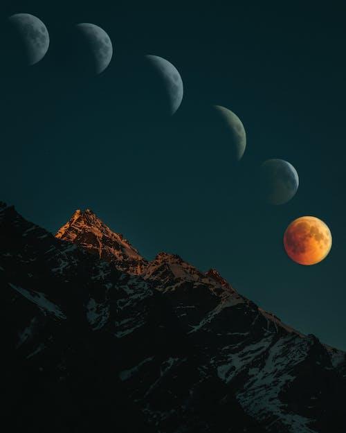 Základová fotografie zdarma na téma fotografie přírody, hory, krása v přírodě, krvavý měsíc