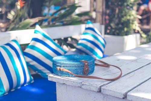 Round Blue Rattan Bag