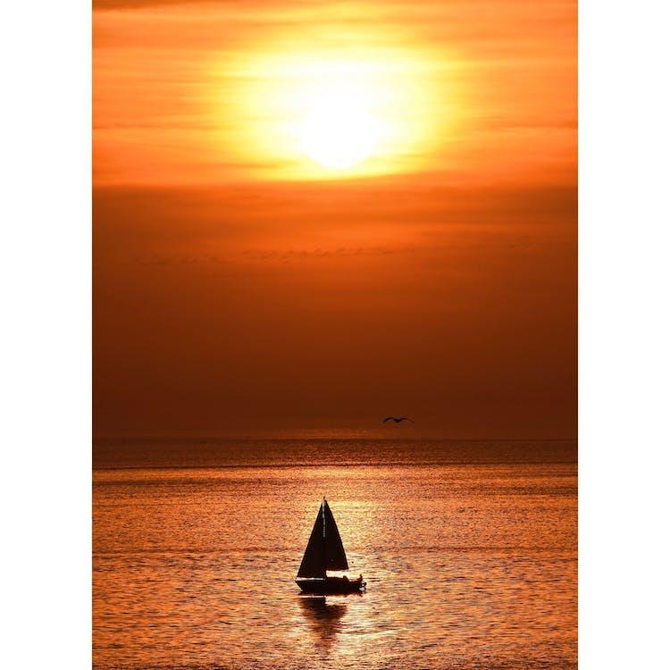 aube, bateau, ciel