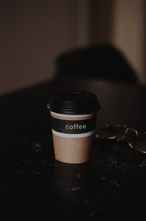 Brown and Black Coffee Disposable Cup With Lid