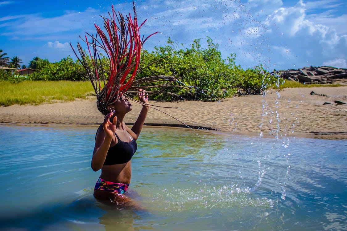 aigua, bikini, cabell