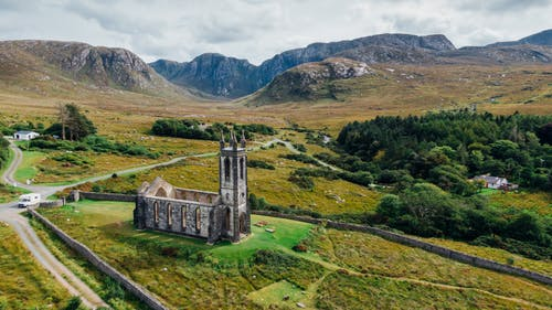 Free stock photo of abandoned, abandoned church, aerial, aerial photography
