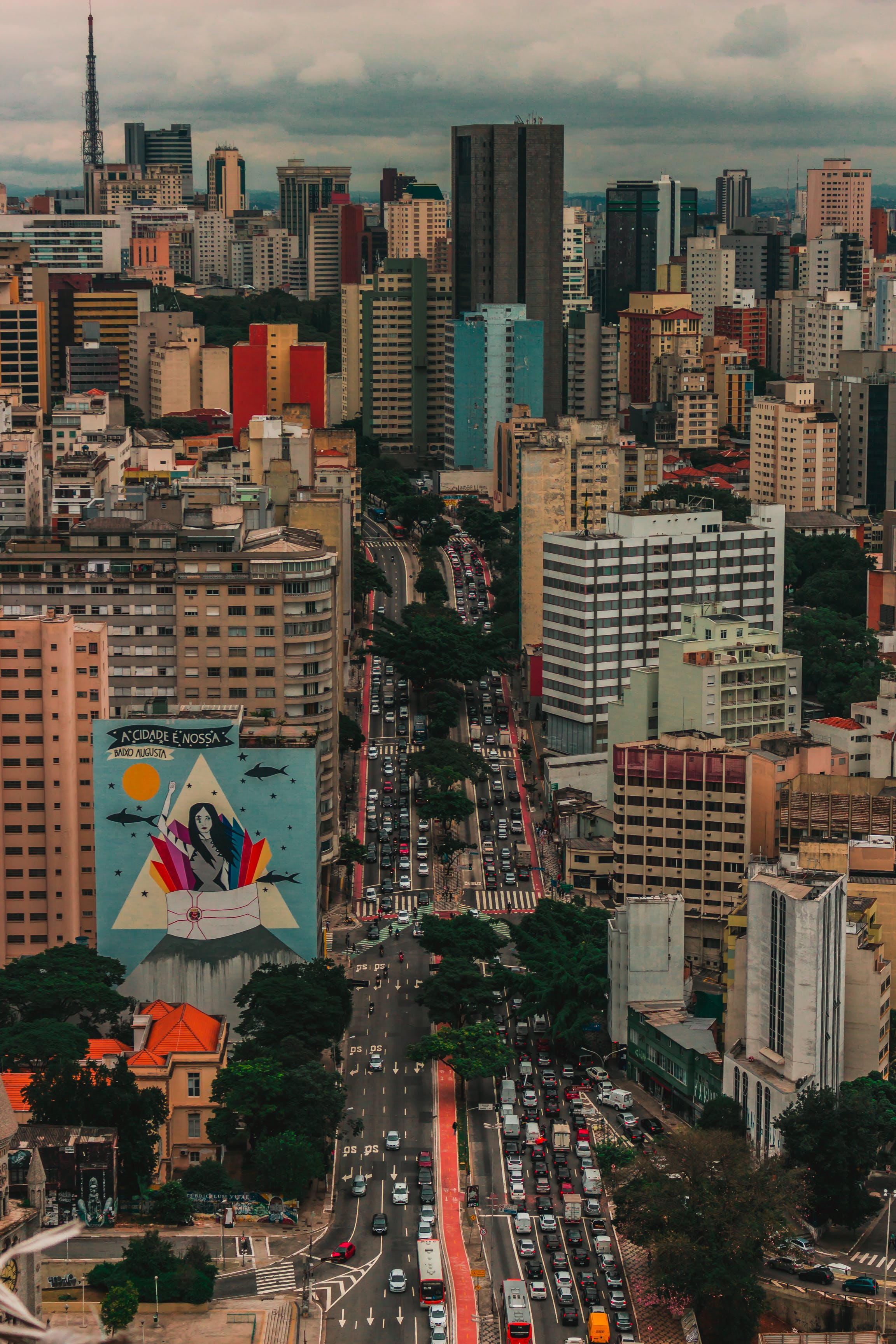 Aerial View Photo of Busy Cityscape