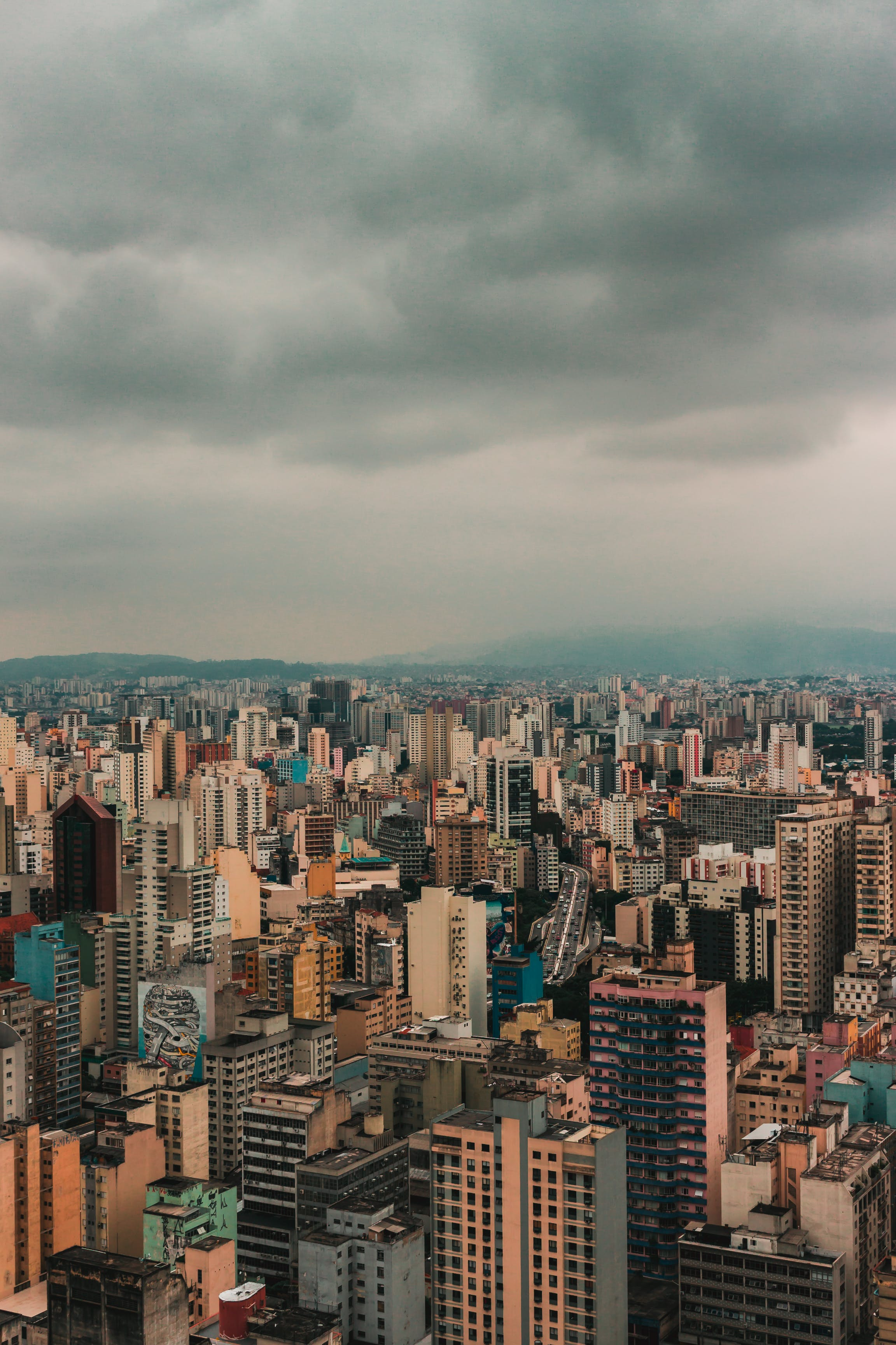 Aerial View Photo of Cityscape on a Gloomy Day