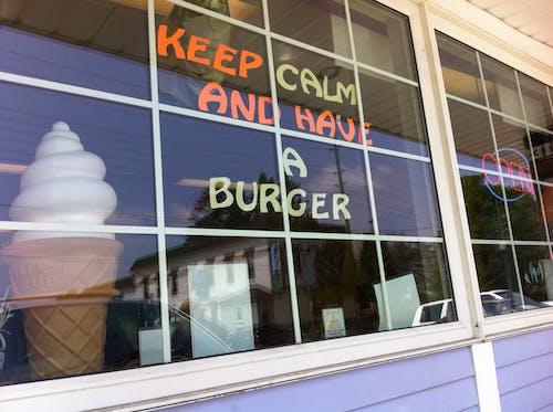 Free stock photo of burger, ice cream, keep calm