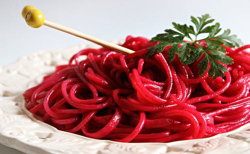 Red Noodles on Plate
