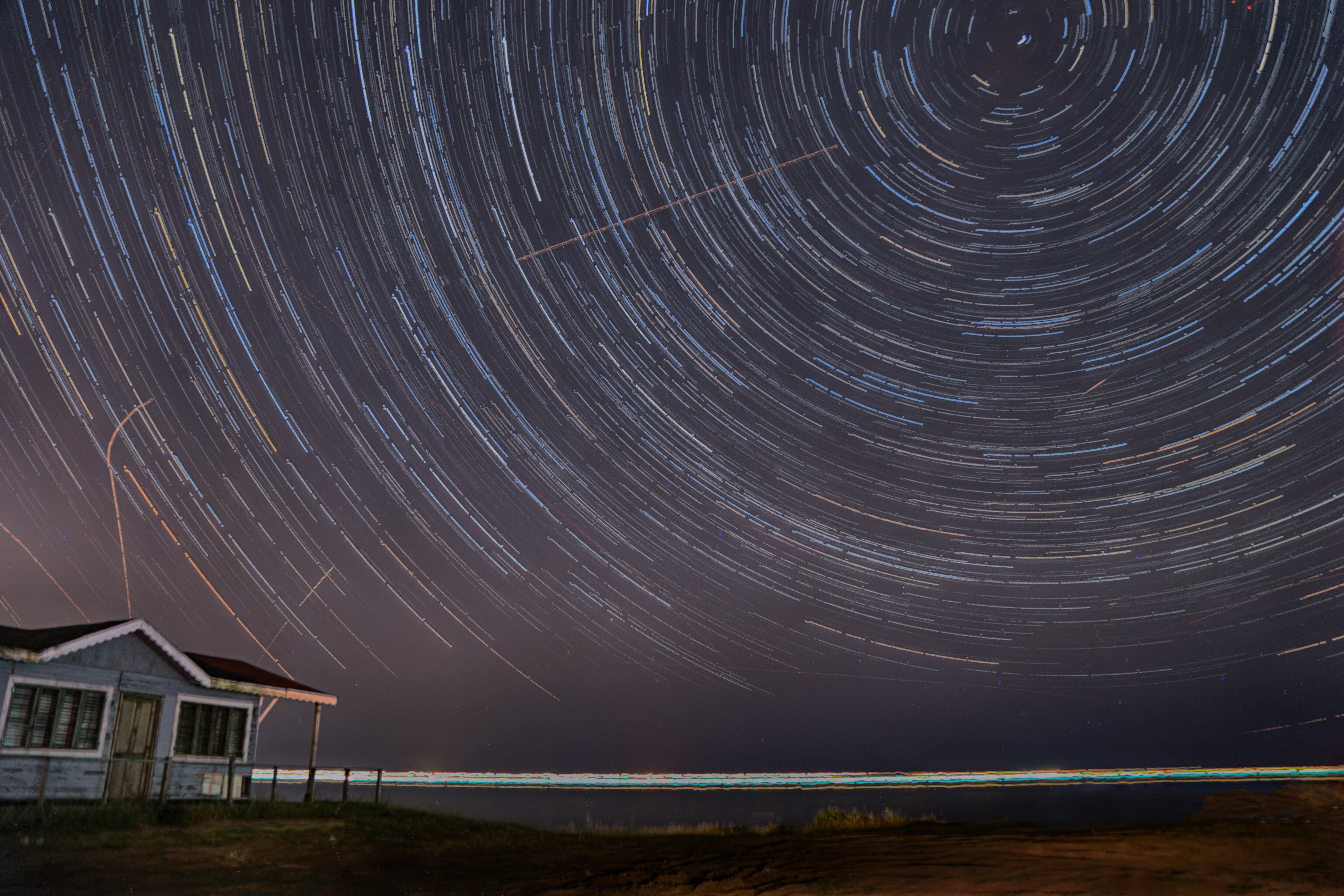 Free stock photo of night, star trails photography