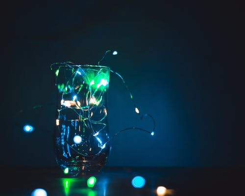 Free stock photo of cocktail glass, fairy lights, glass jar, low light