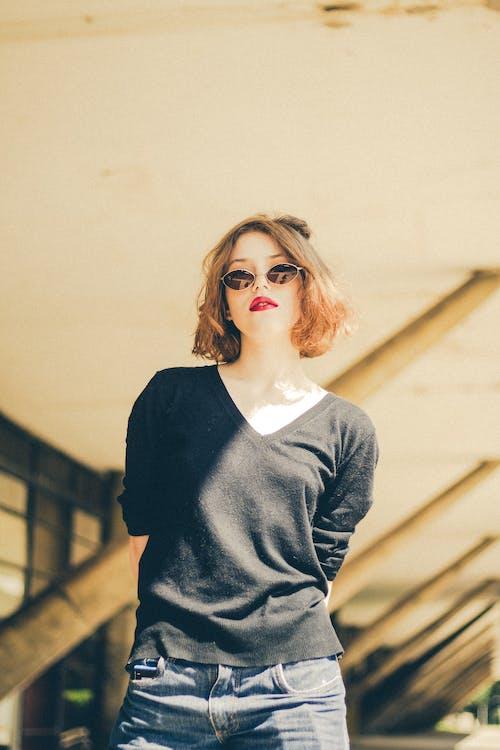 Woman Wearing Black Top Shirt