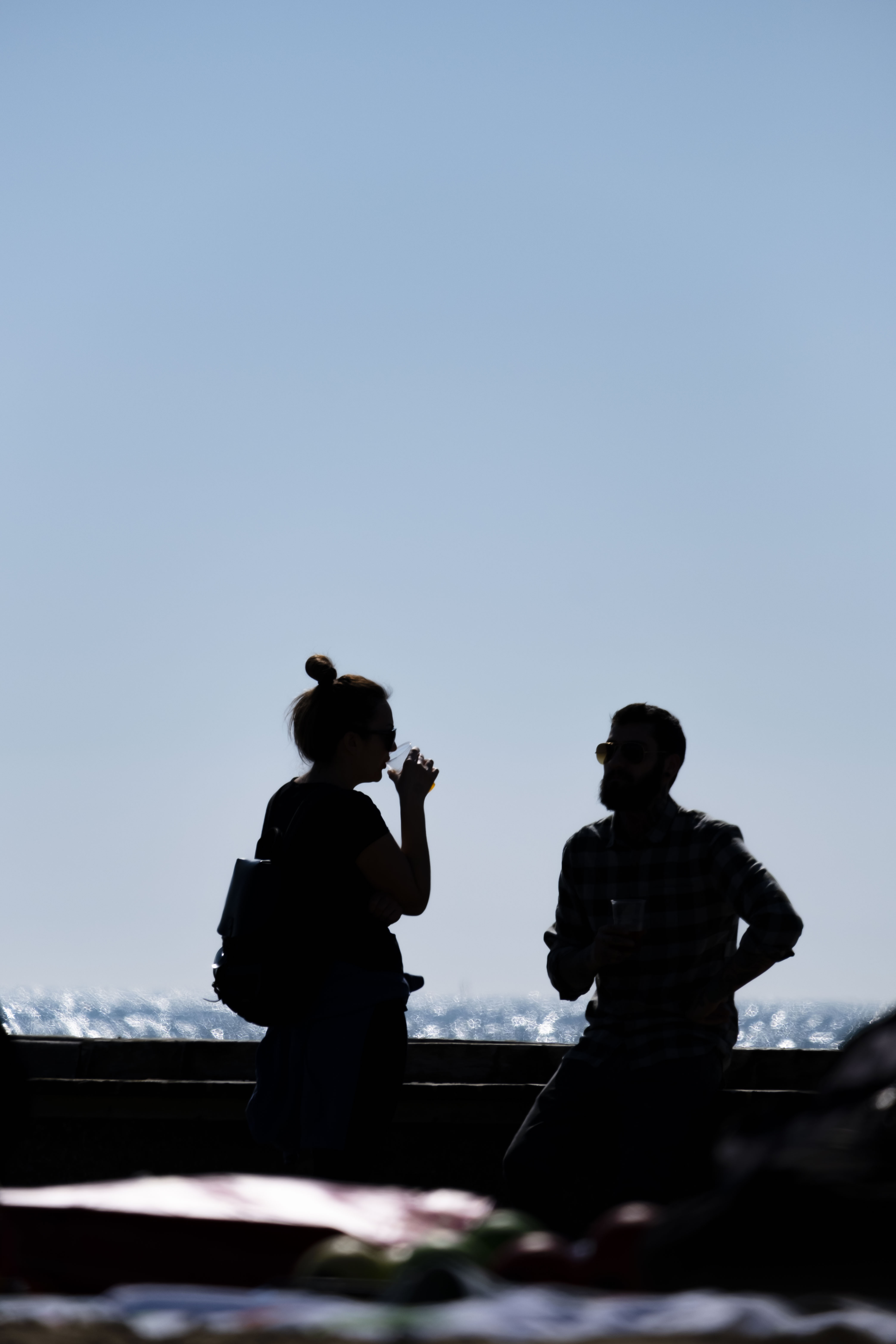 Silhouette Photography of Man and Woman Standing