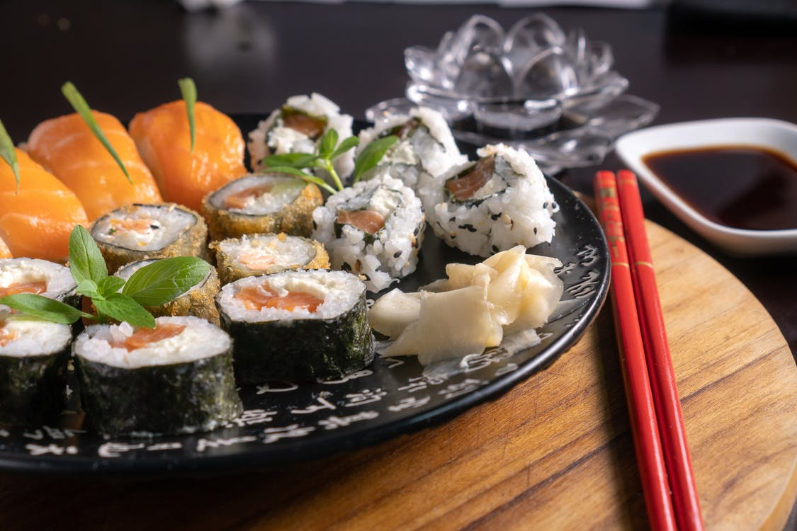 Assorted Sushi Rolls on Plate