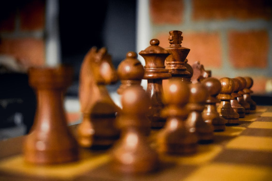 Brown Wooden Chess Piece Set