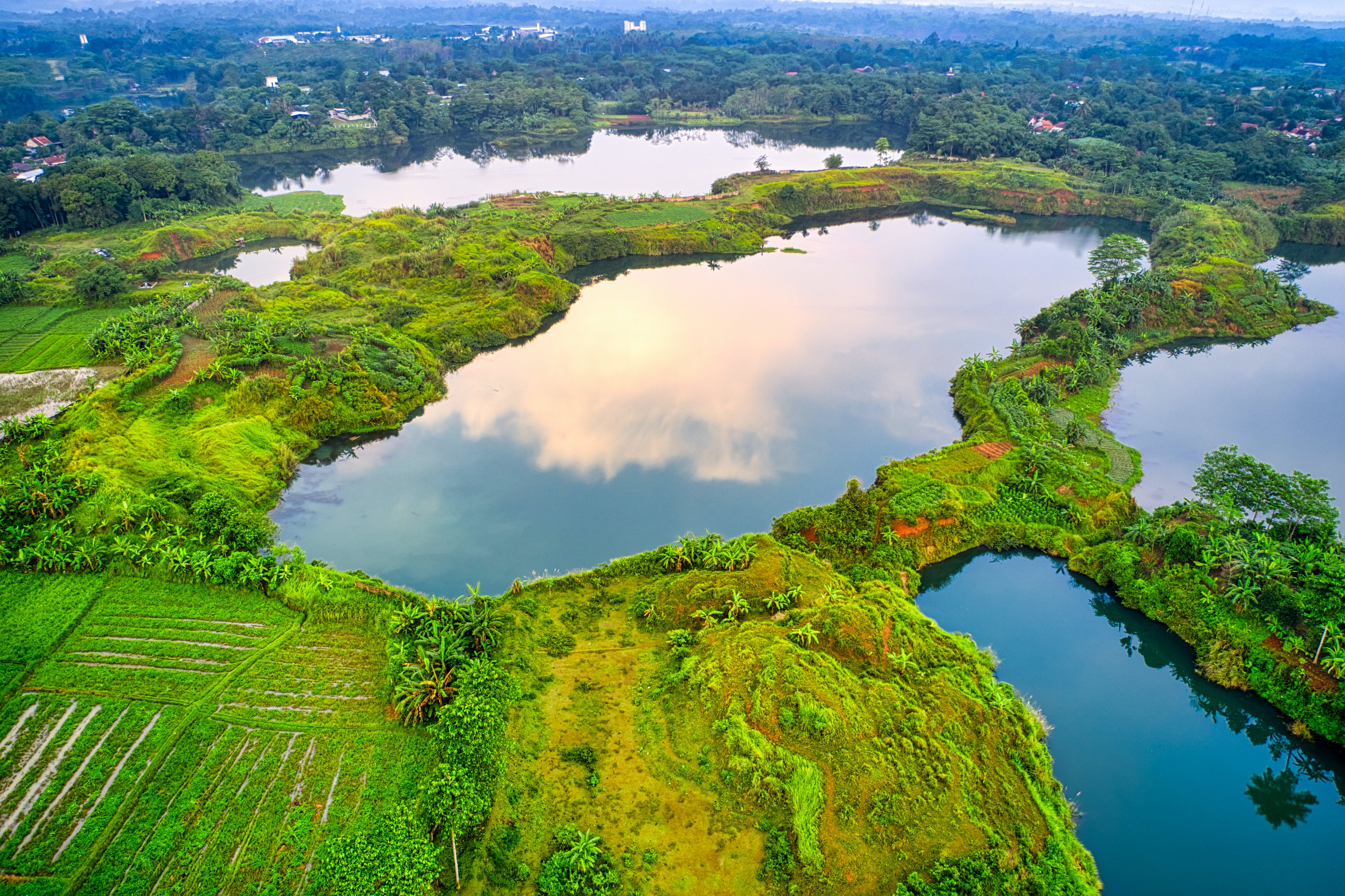 Aerial View of Body of Water at Rural Area