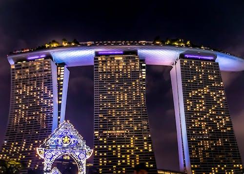 Gratis lagerfoto af flot udsigt, hotel, Marina Bay Sands, natteliv