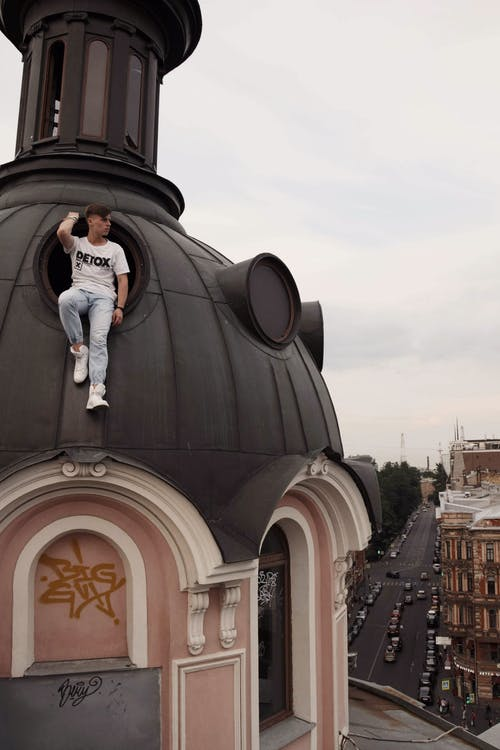 man on dome structure