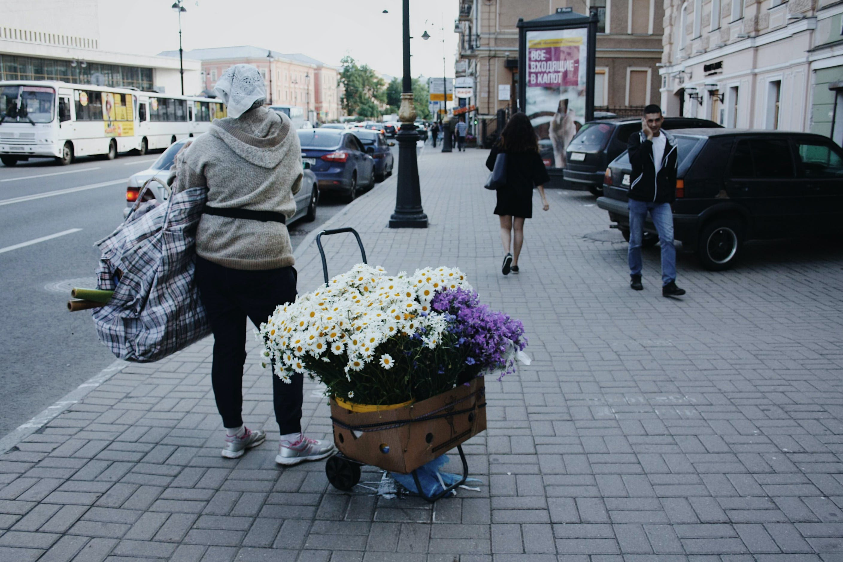 person carrying flowers