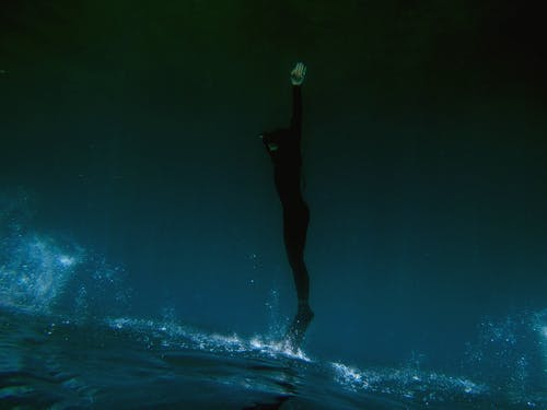 Freediver ascending from the depths