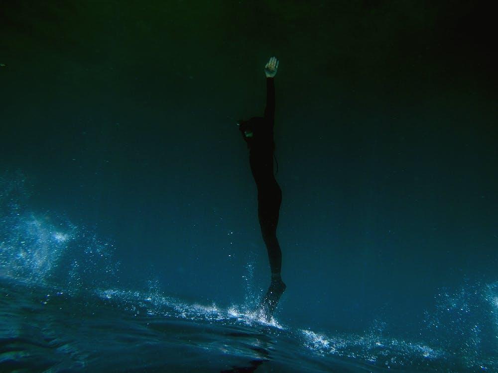 blå, dykke, dykker