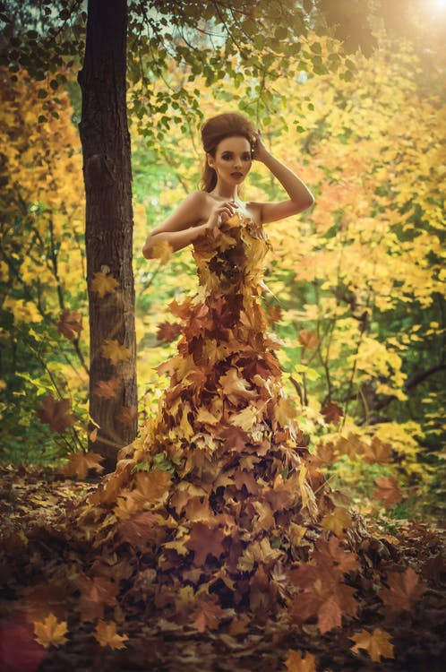 Model With Autumn Leaves As a Dress