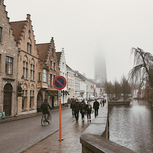 Free stock photo of Belgium, bike, fog, old town
