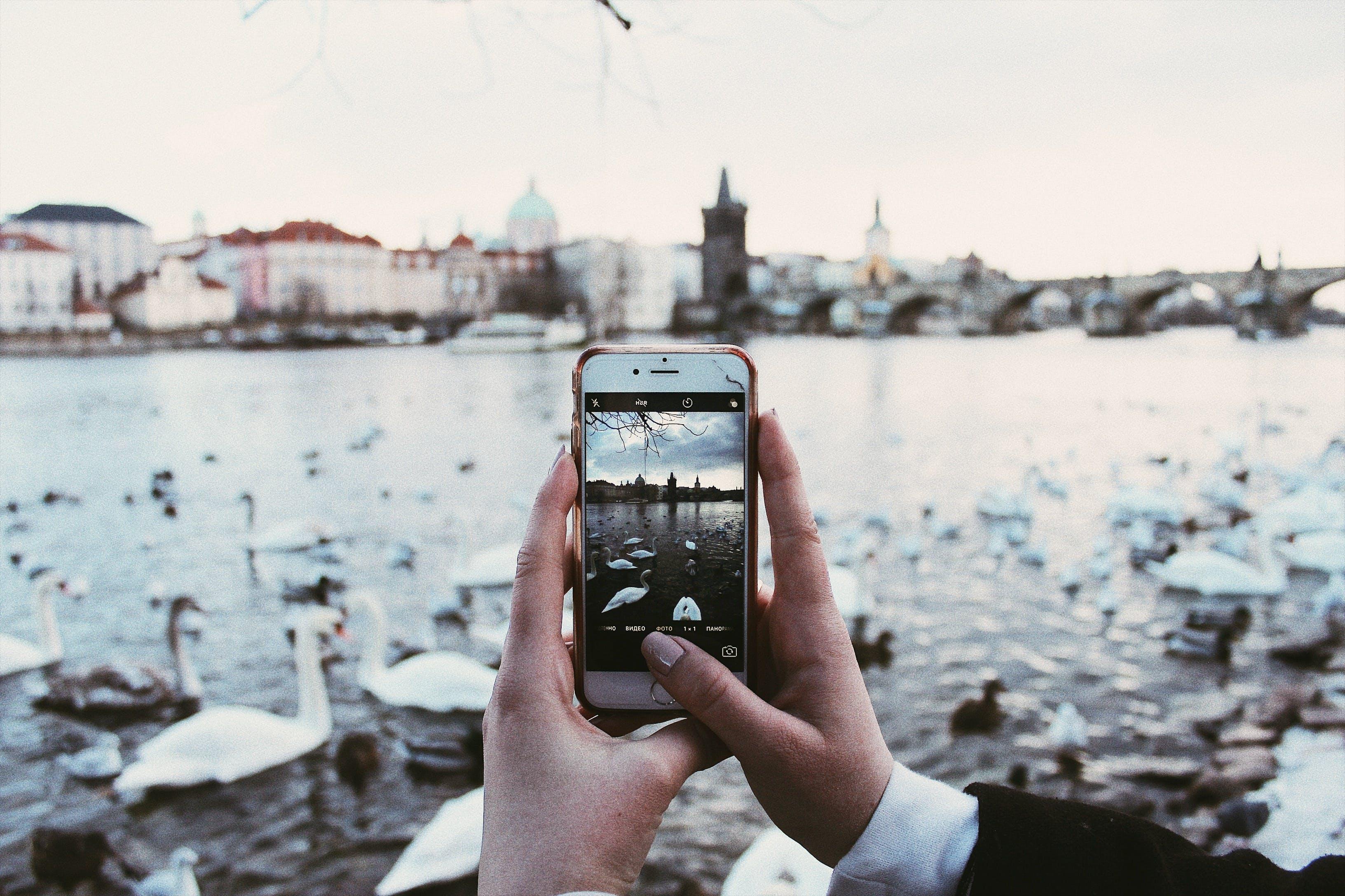 Gratis lagerfoto af flod, mobiltelefoner, Prag, skærm