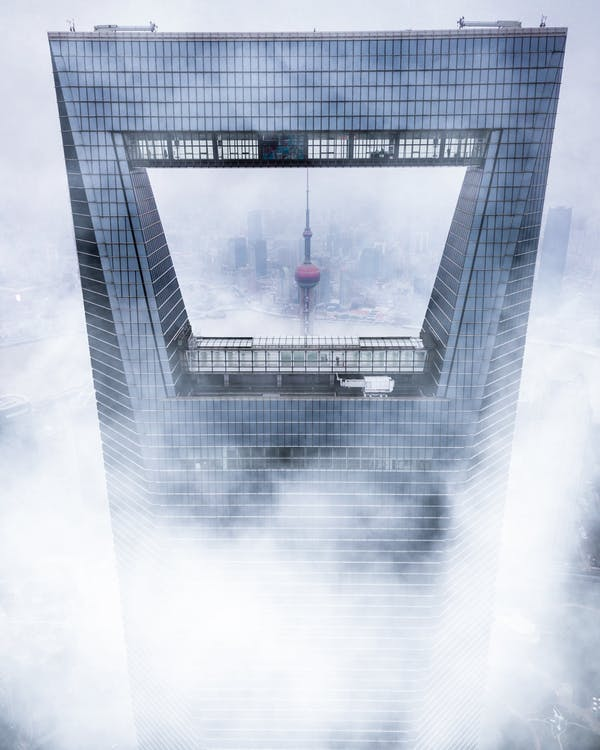 arhitectură, ceață, cețos
